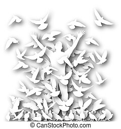 In the flock cutout - Illustrated silhouette of a man and...