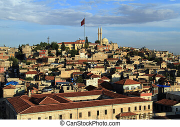 In the Gaziantep - Buildings on the hill in the center of ...