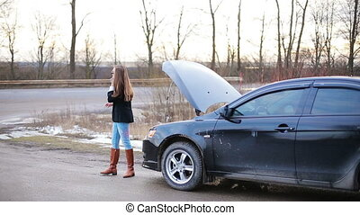 In the girl's problems with car