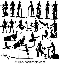 In the gym - Set of silhouettes of people exercising in the...