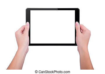 In the hands of girl black tablet