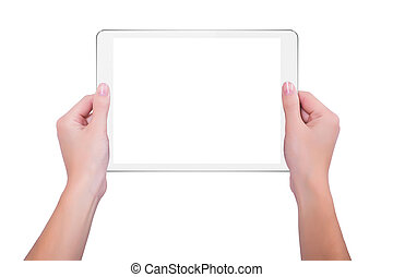 In the hands of girl white tablet