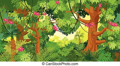 In the jungle. Vector illustration