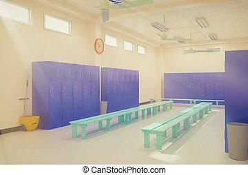 In the locker room. - In the locker room 3d Render.