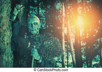 in the moon light - Zombie warrior in knightly armor stands...