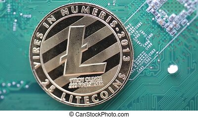 in the motherboard of a computer the coin of bitcoin...