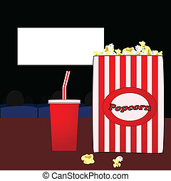 In the movies - Illustration of a popcorn bag and soda pop ...