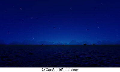 In the Night Cargo ships sailing from open sea