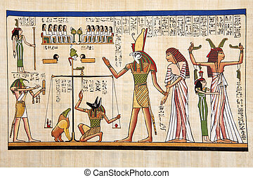 In the past - Antique egyptian papyrus and hieroglyph