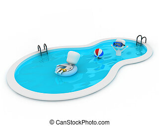 In the Pool - 3D Illustration of Kids in the Pool