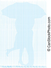 In the Rain - A silhouette of a couple kissing beneath an...