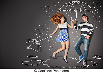 In the rain. - Happy valentines love story concept of a...
