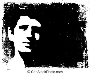 In the shadows - Grunge style image of a mans face in the ...