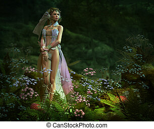 in the small elven forest, 3d CG