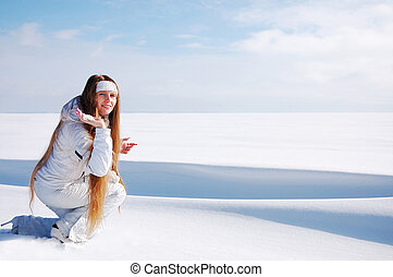 In the snow desert - Beautiful girl in the middle of snow...