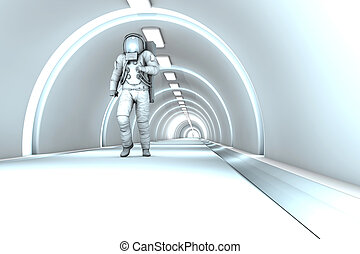 In the Space station - A Astronaut walking in a space...