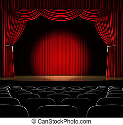 In the Spot Light - Theatre stage with red curtain and...