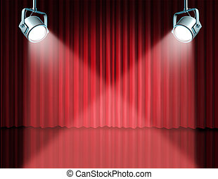 In the spotlight featuring concept for the theater stage with glowing lights on red velvet cinema curtain and drapes representing the entertainment communications concept of an important announcement in a rich cinema and theatrical environment.