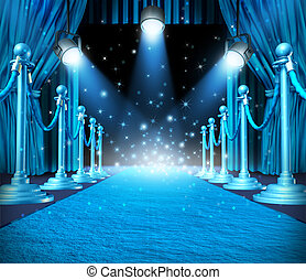 In the spotlight and center of attention or limelight with blue glowing lights on stage as a concept for entertainment with roped barriers and cyan glowing light with shiny sparkles as an important show event background.