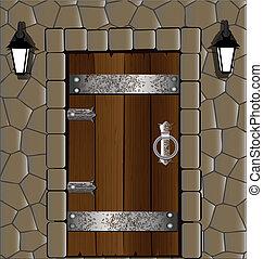 in the stone wall old wooden door, alongside two lantern