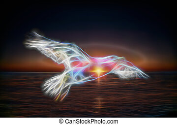 abstract Seagull on a background of the sea.