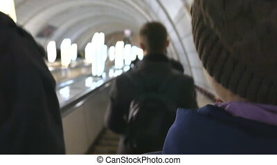 In the subway on Escalator people are in a hurry. Ukraine, Kiev