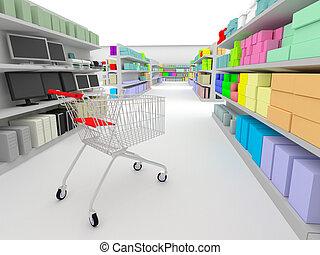 In the supermarket - shopping cart standing between shelves ...