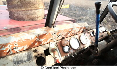 in the tractor cab