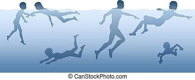 In the water - Editable vector illustration of adults and...