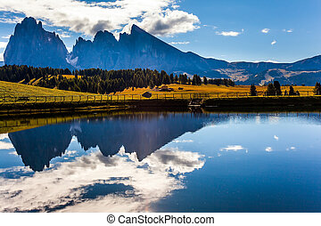 In the water mountains are reflected