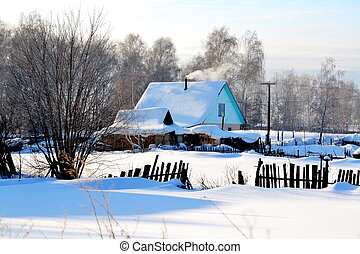 In the winter in the village