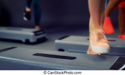 In training for step aerobics can see different parts of...