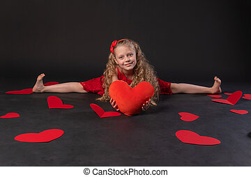 In twine in the hands of the heart paper hearts love valentine background, valentine heart, on the floor hearts romance. the honeymoon form. event forever, hearts in a red girl dress, barefoot