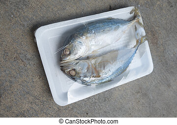 in umido, (local, scombro, schiuma, accento, due, too), pla, tailandia, asiatico, vassoio, fish