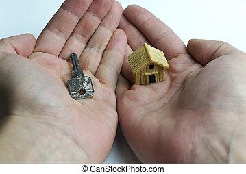 in, uno, mano, uno, chiave, a, un altro, house.