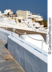 in vacation europe cyclades santorini old town white and the sky
