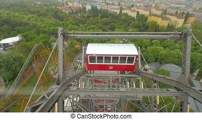 In Vienna, Austria a view from the window booths of the ferris wheel