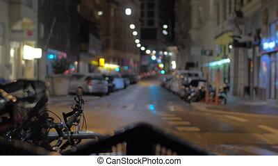 In Vienna, Austria in the evening street seen bike parking....