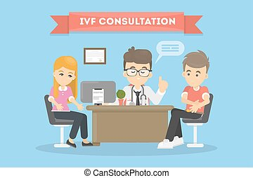 In vitro fertilization. Couple on consultation with doctor.