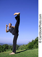 kick - in your face kick - attractive young woman practicing...