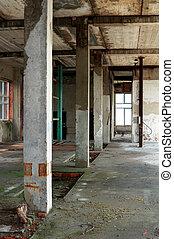 inacabado, interior, edificio viejo