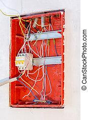 inacabado, trabajo, en, eléctrico, panel, instalación