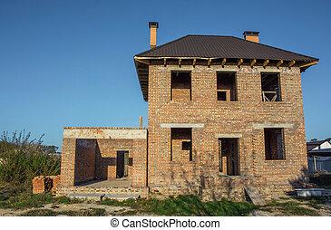inacabado, two-storey, casa tijolo