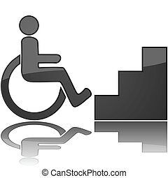 Concept illustration showing a wheelchair in front of stairs, to represent something inaccessible