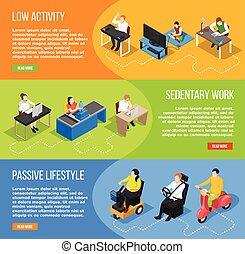 Inactive Life Horizontal Banners - Set of three sedentary...