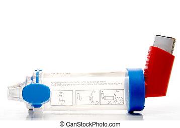 inalador, asma, tubo, extensão