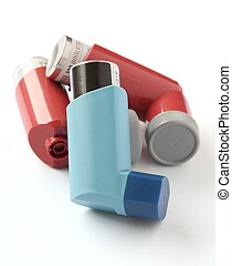inaladores, branca, asma, isolado, fundo