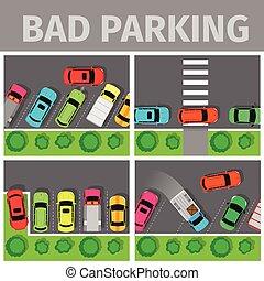inapropiado, coche, set., malo, estacionado, manera, estacionamiento
