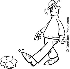 inattentive man coloring page - Black and White Cartoon...