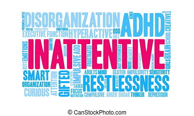 Inattentive Word Cloud - Inattentive ADHD word cloud on a...